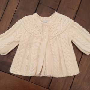 Natural color cable sweater cardigan 6 mo EUC